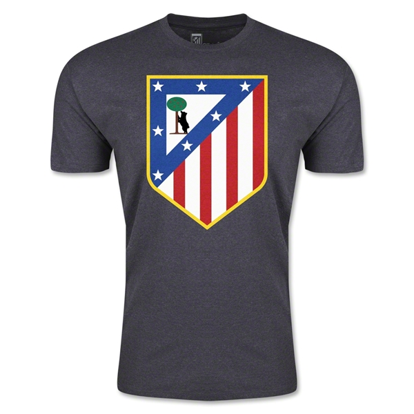 Atletico Madrid Crest Men's Fashion T-Shirt (Dark Gray)