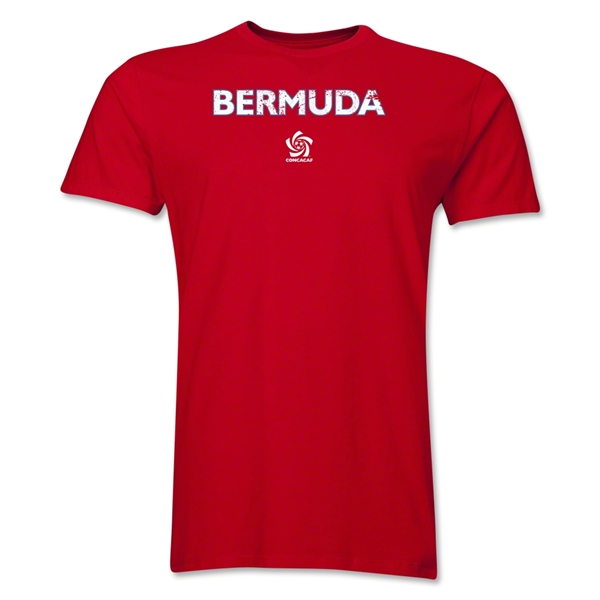 Bermuda CONCACAF Distressed Men's Fashion T-Shirt (Red)