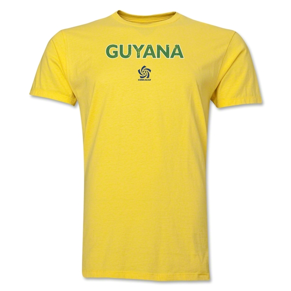 Guyana CONCACAF Distressed Men's Fashion T-Shirt (Yellow)