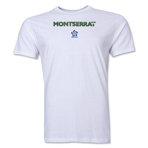 Montserrat CONCACAF Distressed Men's Fashion T-Shirt (White)