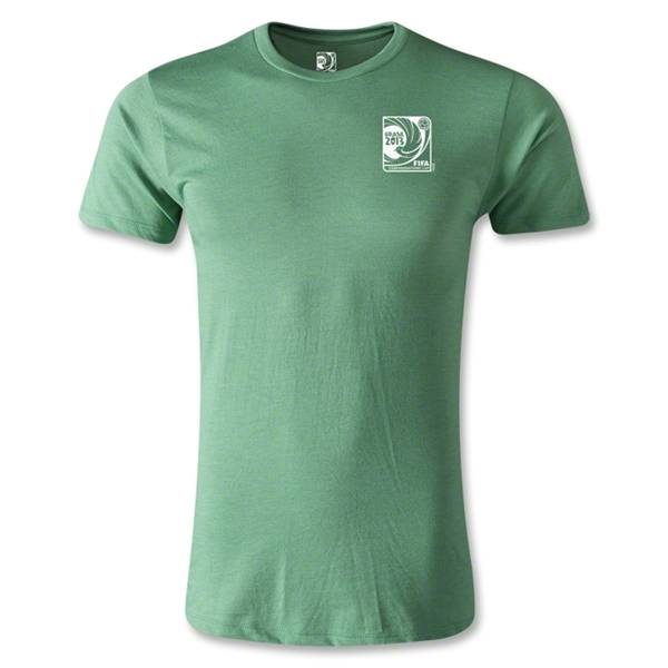FIFA Confederations Cup 2013 Men's Fashion Small Emblem T-Shirt (Heather Green)