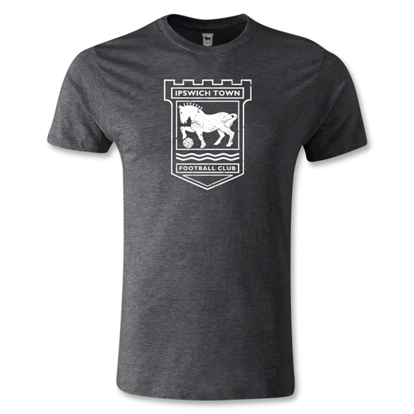 Ipswich Distressed Crest Men's Fashion T-Shirt (Dark Gray)