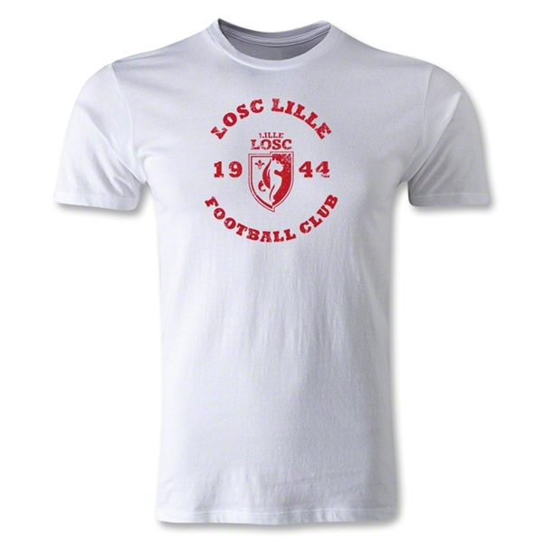 LOSC Lille Distressed Graphic Men's Fashion T-Shirt (White)