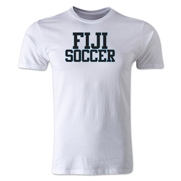 Fiji Soccer Supporter Men's Fashion T-Shirt (White)