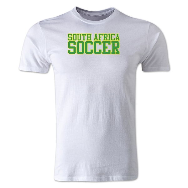 South Africa Soccer Supporter Men's Fashion T-Shirt (White)