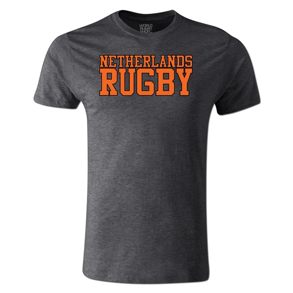 Netherlands Supporter Rugby T-Shirt (Dark Gray)