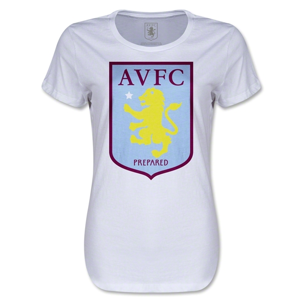 Aston Villa Women's Distressed T-Shirt (White)