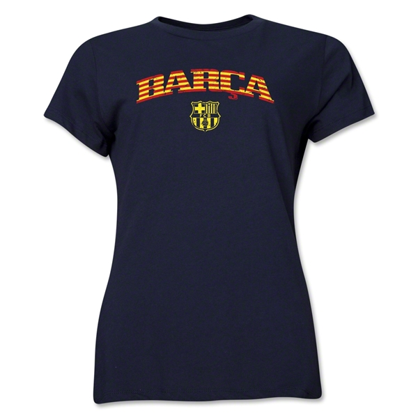 Barcelona Distressed Stripe Women's T-Shirt (Navy)