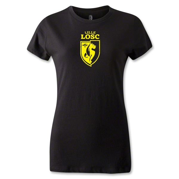 LOSC Lille Distressed Crest Women's T-Shirt (Black)