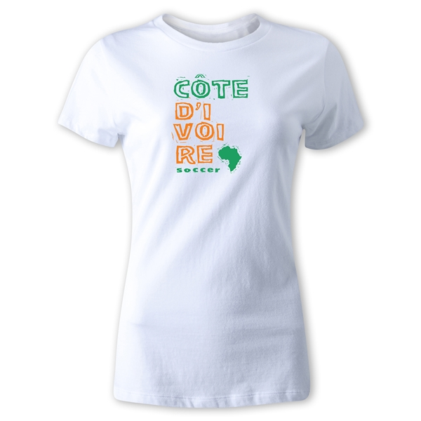 Cote d'Ivoire Women's Country T-Shirt (White)