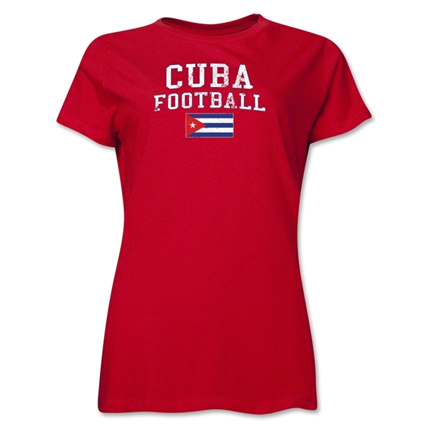 Cuba Women's Football T-Shirt (Red)