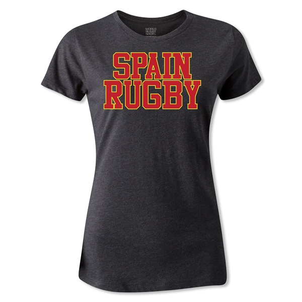 Spain Women's Supporter Rugby T-Shirt (Dark Gray)