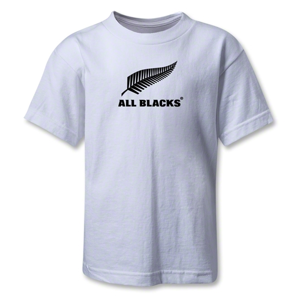 All Blacks Fern Logo Kids T-Shirt (White)