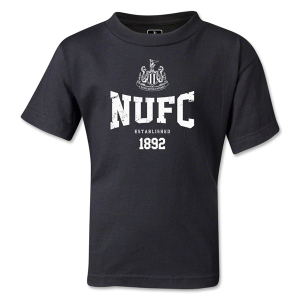 Newcastle United Distressed Kids T-Shirt (Black)