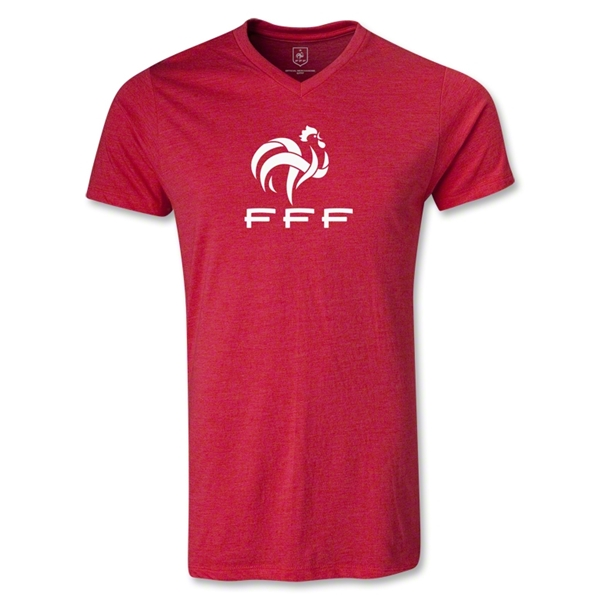 France FFF Men's V-Neck T-Shirt (Heather Red)