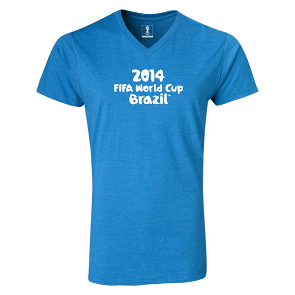 2014 FIFA World Cup Brazil(TM) Logotype V-Neck T-Shirt (Heather Turquoise)