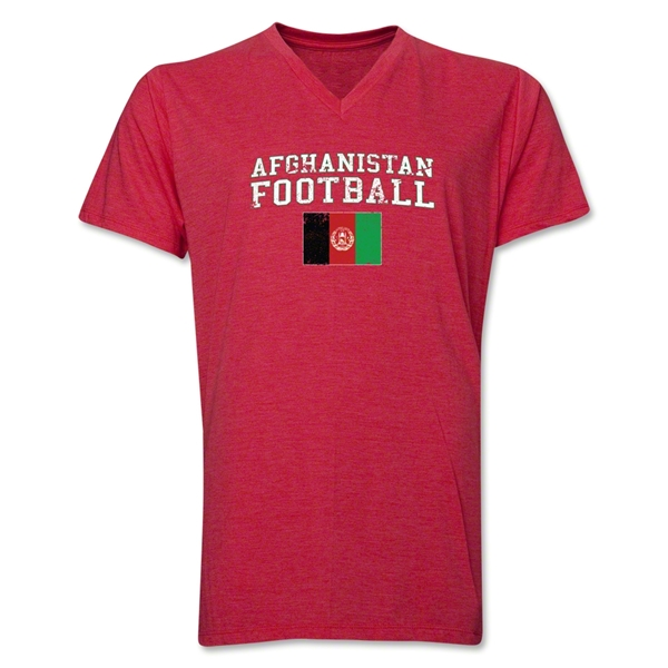 Afghanistan Football V-Neck T-Shirt (Heather Red)