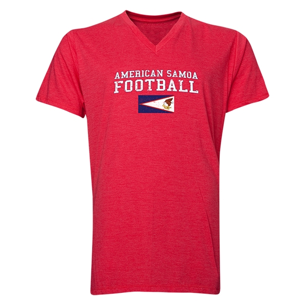 American Samoa Football V-Neck T-Shirt (Heather Red)