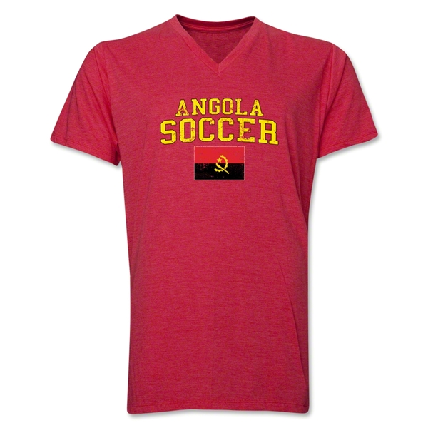 Angola Soccer V-Neck T-Shirt (Heather Red)