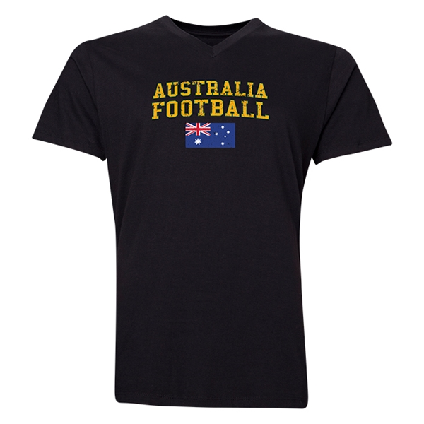 Australia Football V-Neck T-Shirt (Black)