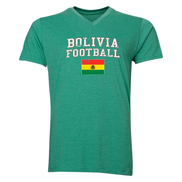 Bolivia Football V-Neck T-Shirt (Heather Green)