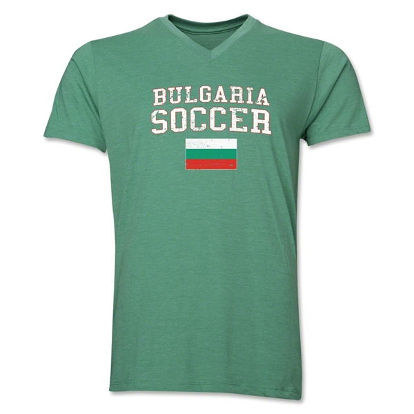 Bulgaria Soccer V-Neck T-Shirt (Heather Green)