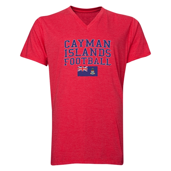 Cayman Islands Football V-Neck T-Shirt (Heather Red)