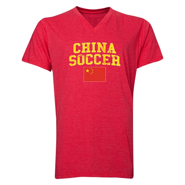 China Soccer V-Neck T-Shirt (Heather Red)