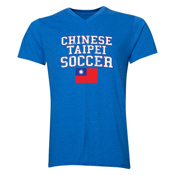 Chinese Taipei Soccer V-Neck T-Shirt (Heather Royal)