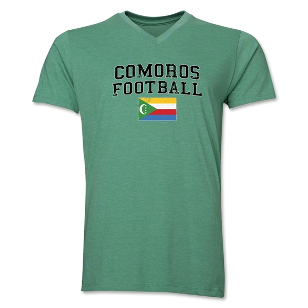 Comoros Football V-Neck T-Shirt (Heather Green)