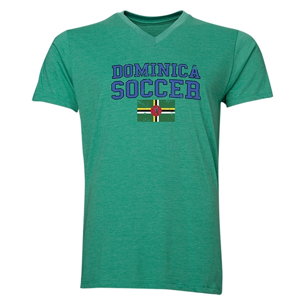 Dominica Soccer V-Neck T-Shirt (Heather Green)