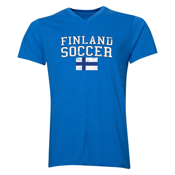 Finland Soccer V-Neck T-Shirt (Heather Royal)