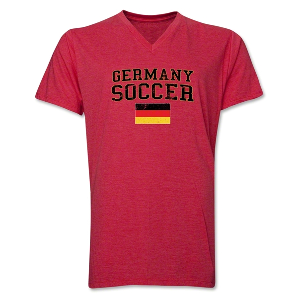 Germany Soccer V-Neck T-Shirt (Heather Red)