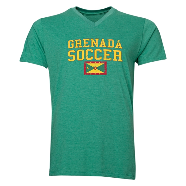 Grenada Soccer V-Neck T-Shirt (Heather Green)