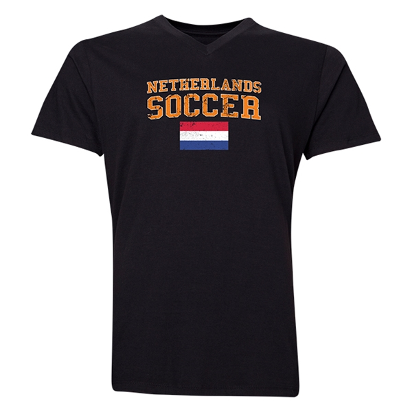 Netherlands Soccer V-Neck T-Shirt (Black)