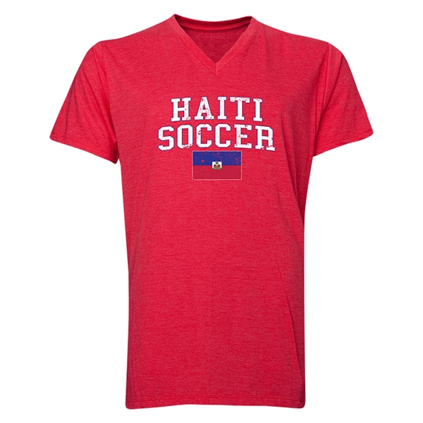 Haiti Soccer V-Neck T-Shirt (Heather Red)