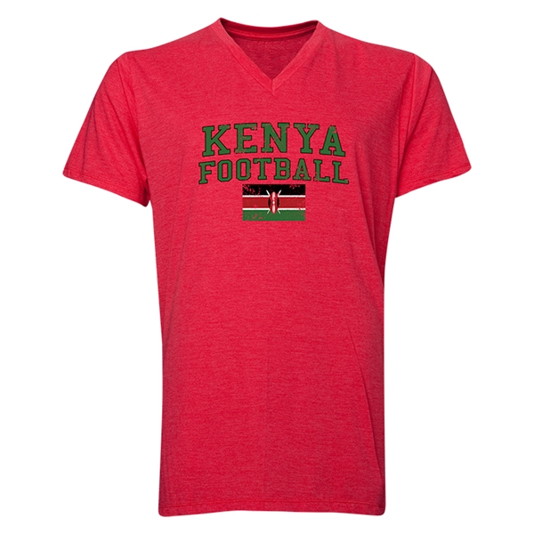 Kenya Football V-Neck T-Shirt (Heather Red)