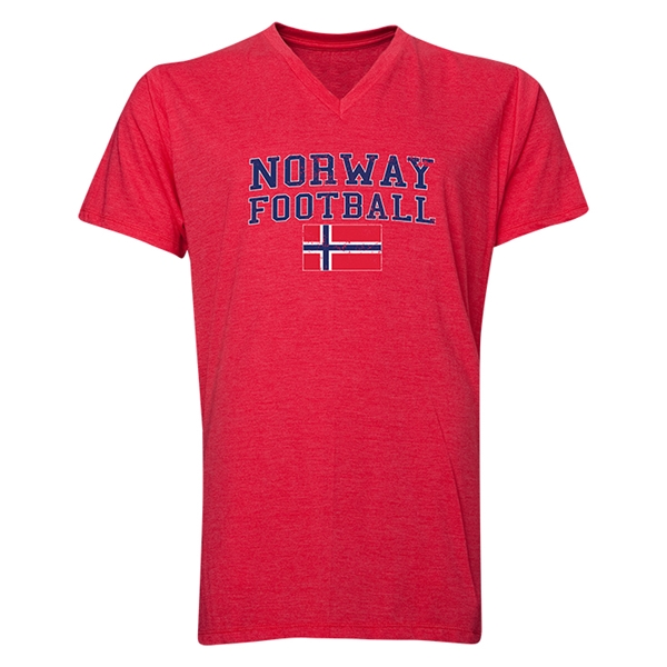 Norway Football V-Neck T-Shirt (Heather Red)