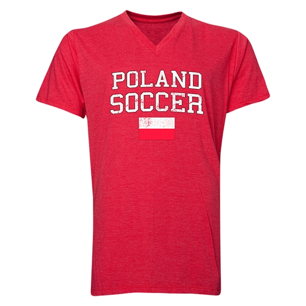 Poland Soccer V-Neck T-Shirt (Heather Red)