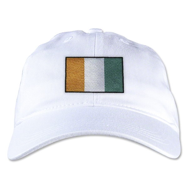 Cote d'Ivoire Unstructured Adjustable Cap (White)