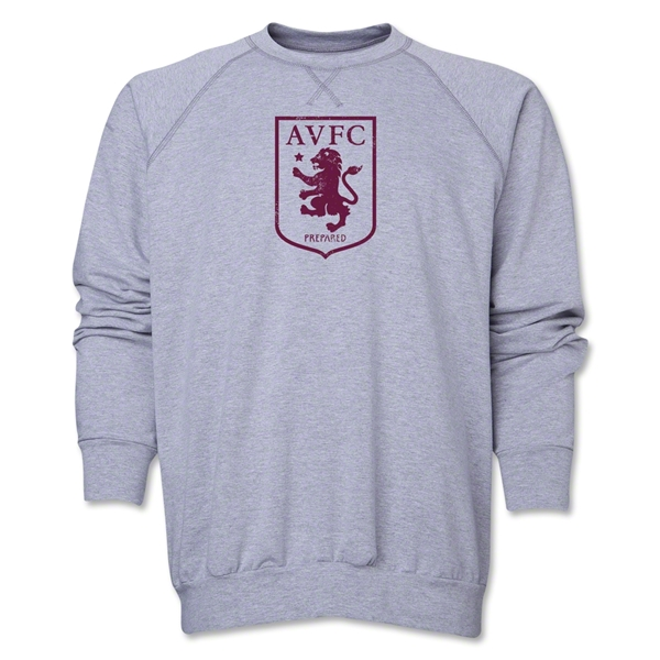 Aston Villa Distressed Club Logo Crewneck Fleece (Gray)