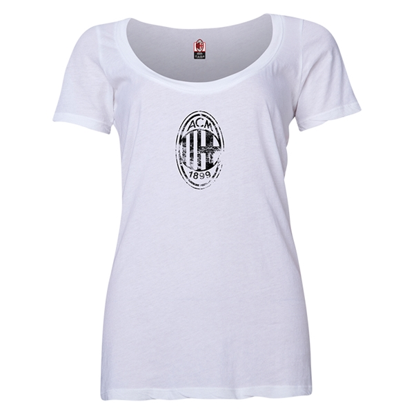 AC Milan Distressed Logo Women's Scoopneck T-Shirt (White)