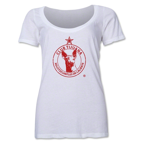 Xolos de Tijuana Women's Scoopneck Distressed T-Shirt (White)