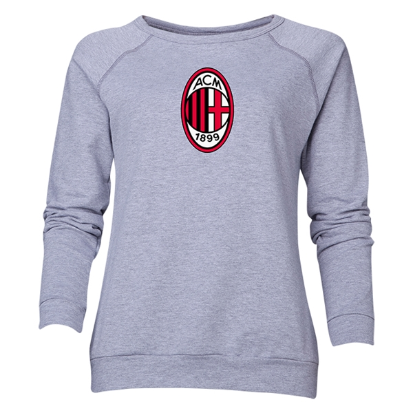 AC Milan Logo Women's Crewneck Fleece (Gray)