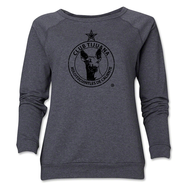 Xolos de Tijuana Women's Distressed Crewneck Fleece (Dark Gray)