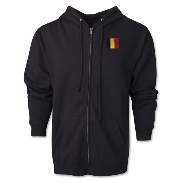 Belgium Flag Full Zip Hooded Fleece (Black)