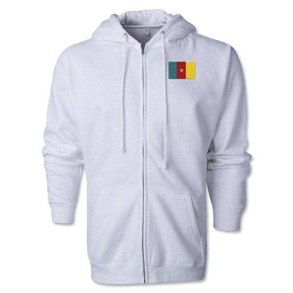 Cameroon Flag Full Zip Hooded Fleece (White)