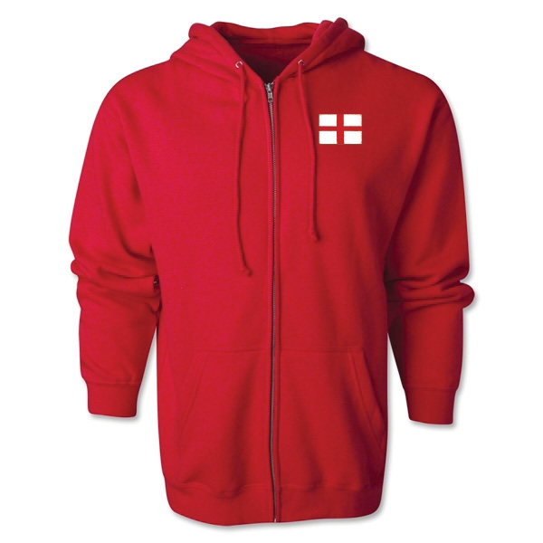 England Flag Full Zip Hooded Fleece (Red)