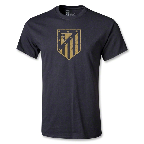 Atletico Madrid Distressed Crest T-Shirt (Black)