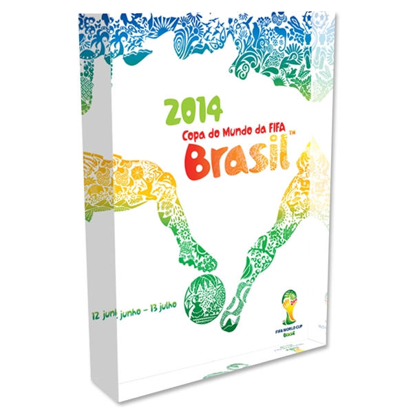 2014 FIFA World Cup Brazil Official Event Poster Acrylic Block Display (Portuguese)